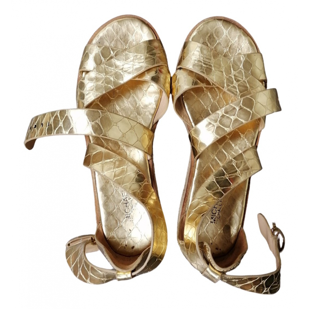 Michael Kors N Gold Leather Sandals for Women 38 IT