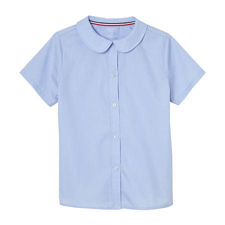 French Toast Little & Big Girls Short Sleeve Button-Down Shirt, 8 , Blue