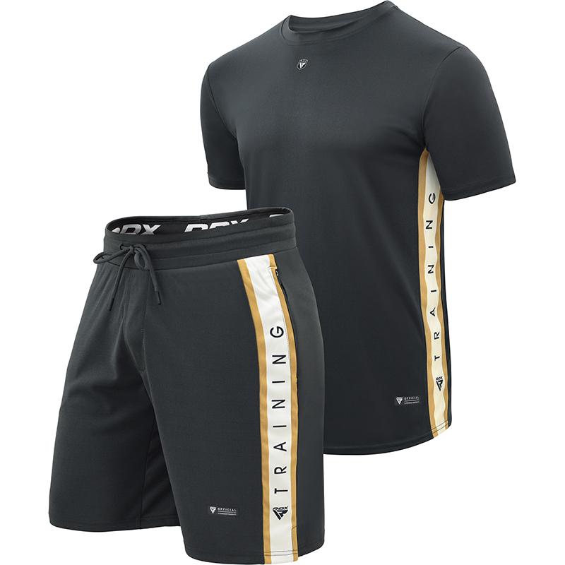 RDX T17 Aura Ensemble de Shorts et T-shirts X Grande Noir Polyester