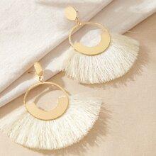 1pair Ring Tassel Drop Earrings