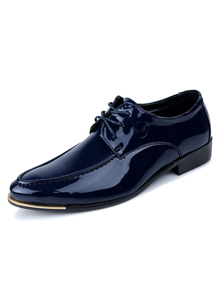 Milanoo Blue Dress Shoes Men Shoes Pointed Toe Lace Up Casual Business Shoes