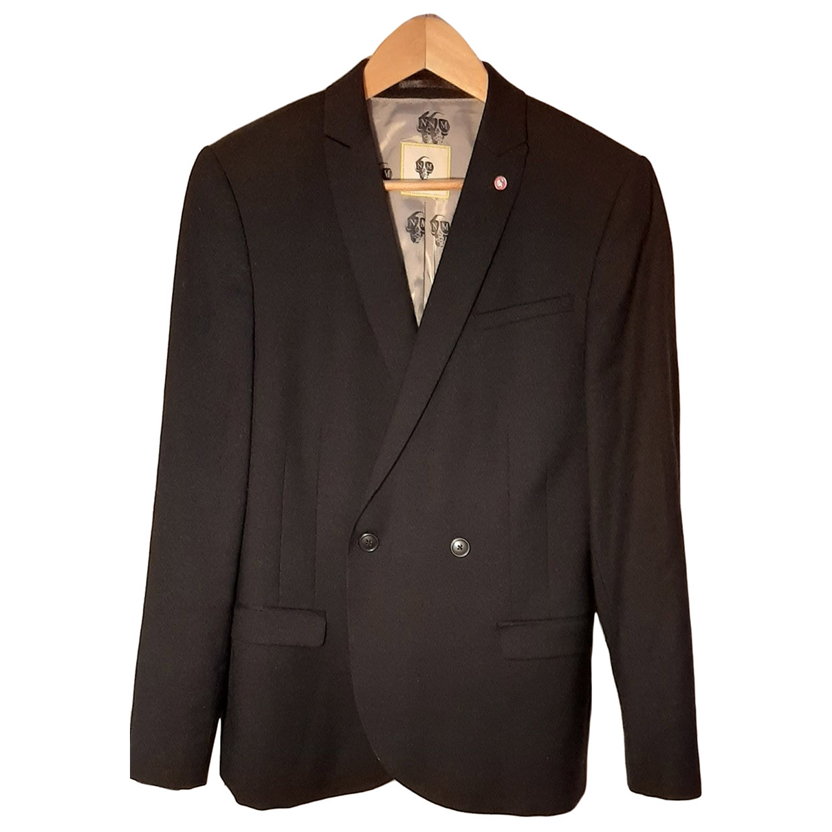 Noose And Monkey N Black Wool Suits for Men 40 UK - US