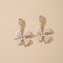 Faux Pearl & Rhinestone Decor Drop Earrings