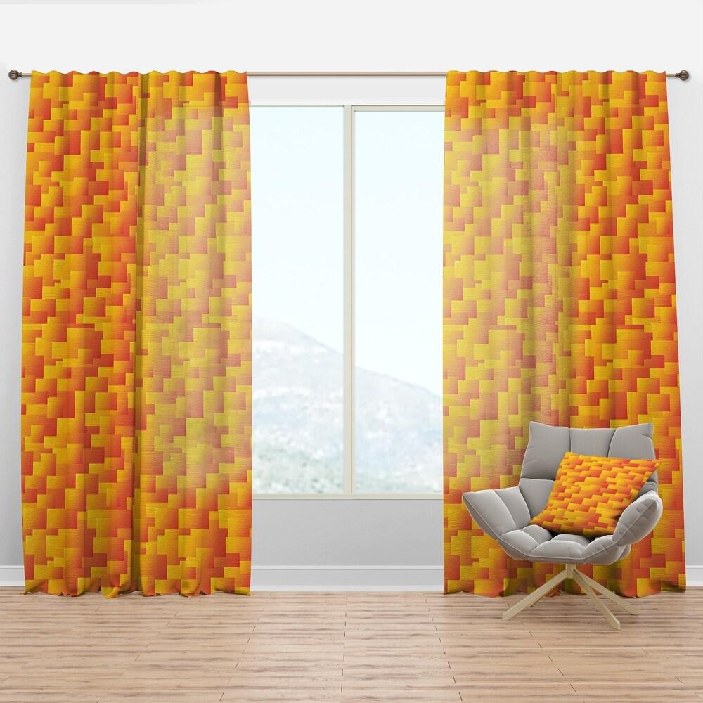 Designart 'Retro Square Design VIII' Mid-Century Modern Curtain Panel (50 in. wide x 108 in. high - 1 Panel)