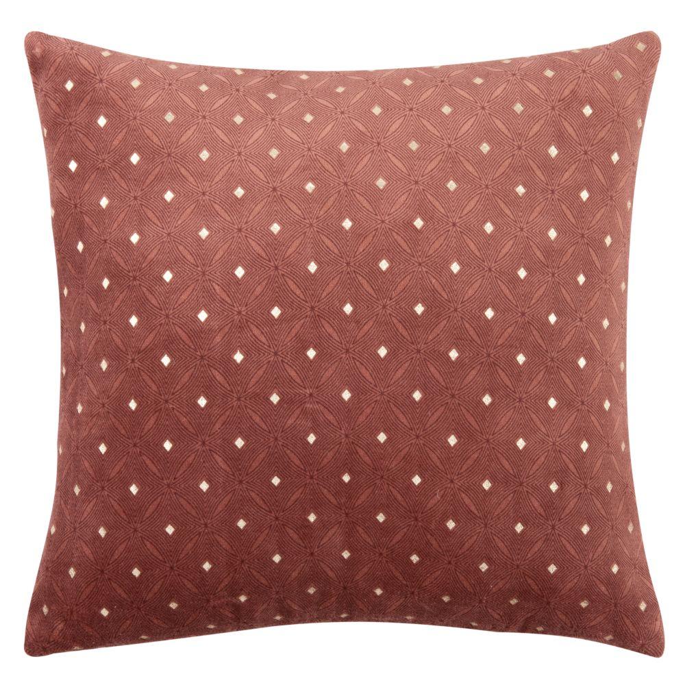 Kissenbezug aus Samt und Baumwolle, rosa und goldfarben 40x40