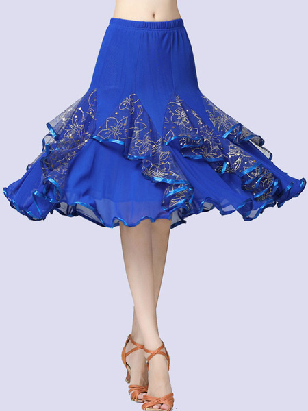 Milanoo Ballroom Dance Costumes Tulle Long Skirt Flower Gilding Dance Dress For Women