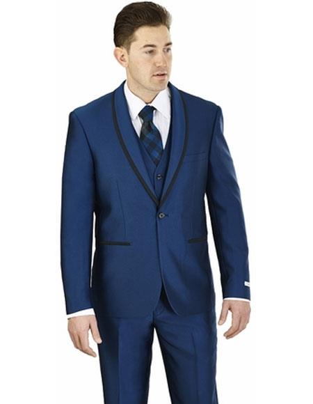 Men's Lorenzo Bruno Shawl Lapel Single Breasted 1 Button Blue Suit