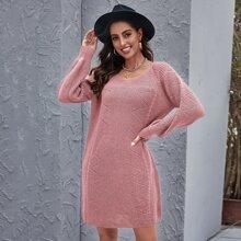 Einfarbiges Pullover Kleid mit Raglanaermeln
