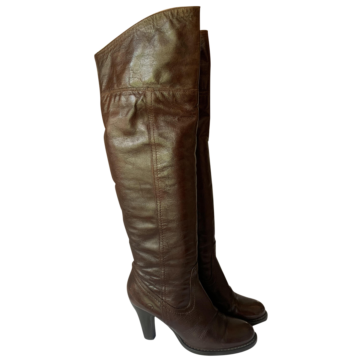 Non Signé / Unsigned N Brown Leather Boots for Women 38 EU