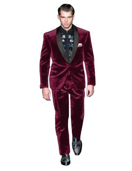 Mens Dark Burgundy Suit One Button