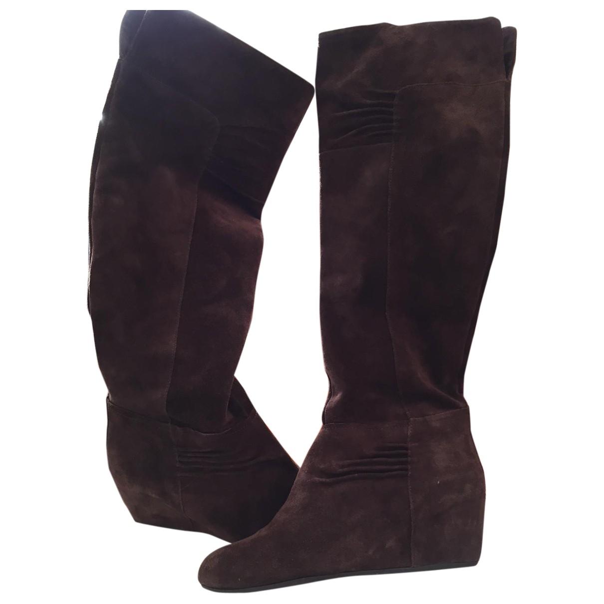 Nine West \N Brown Velvet Boots for Women 37 EU