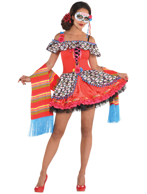Damen-Kostuem Kleid Day of Death Damen bunt 3-tlg. S Grosse: S