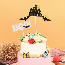 2pcs Halloween Bat Cake Topper