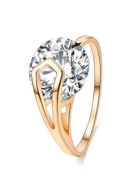 Milanoo Gold Diamond Ring Women's Round Rings
