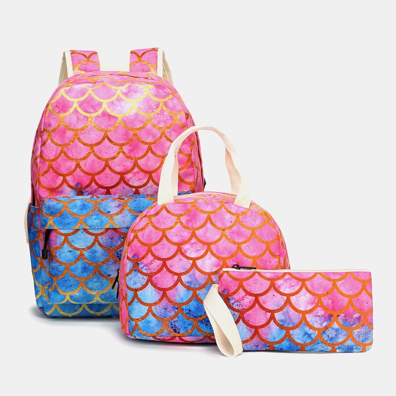 3Pcs Patchwork School Bag Backpack Meal Bag Pencil Case