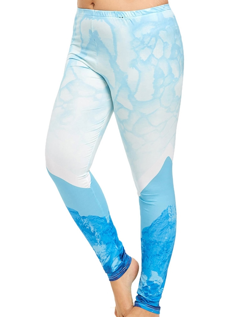 Ericdress Plus Size Tie-Dye Color Block Leggings