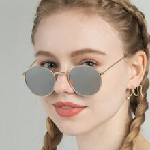Metal Frame Mirror Lens Sunglasses