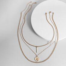 3 Stuecke Maenner Halskette mit Metall Leiste Anhaenger