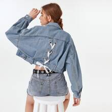 Lace Up Back Dual Pockets Denim Jacket