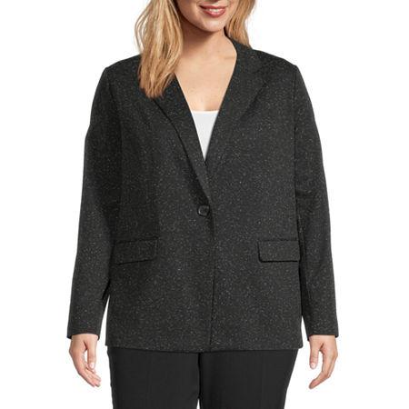 Liz Claiborne Long Sleeve One Button Blazer - Plus, 1x , Black