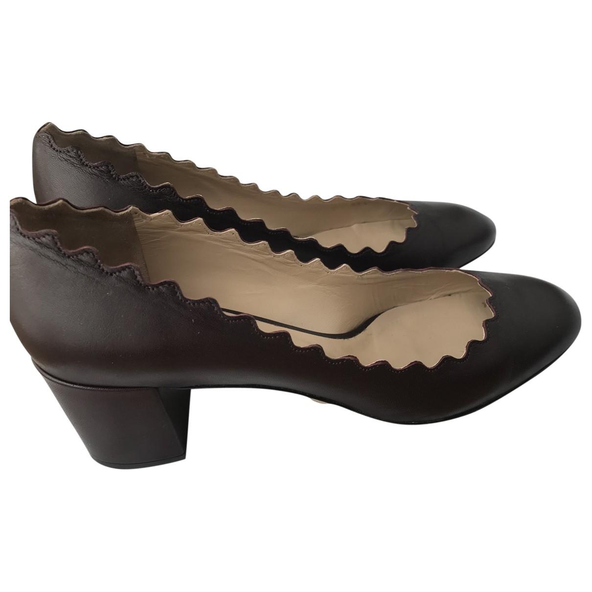 Chloé Lauren Burgundy Leather Heels for Women 38 EU