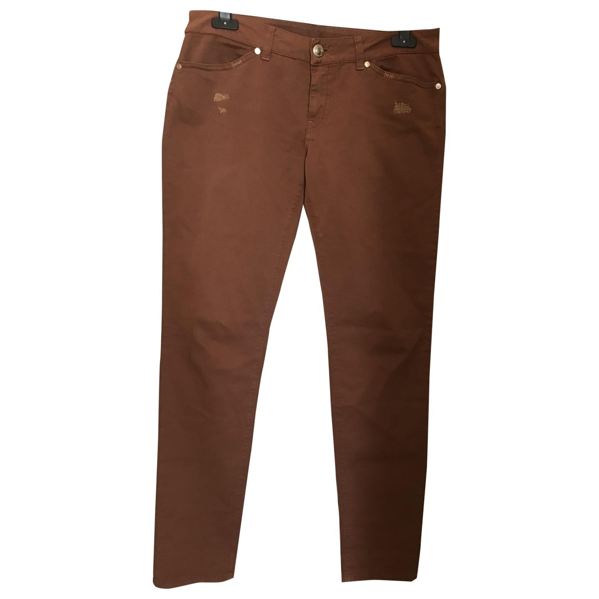 Pinko \N Brown Cotton Trousers for Women 42 IT