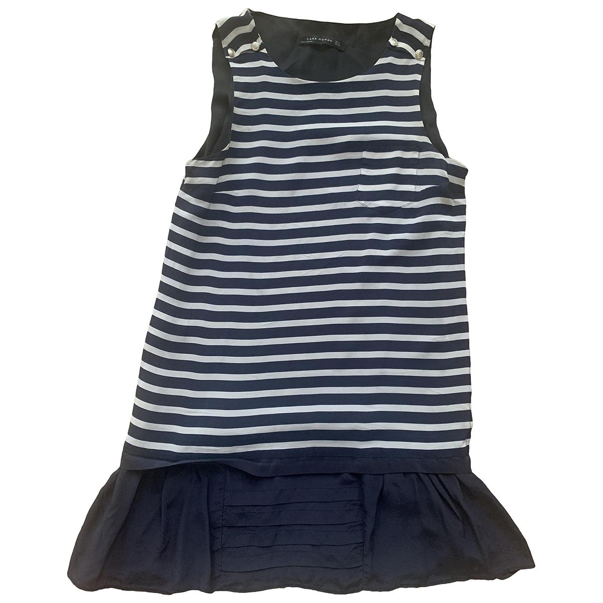 Zara \N Kleid in  Marine Seide