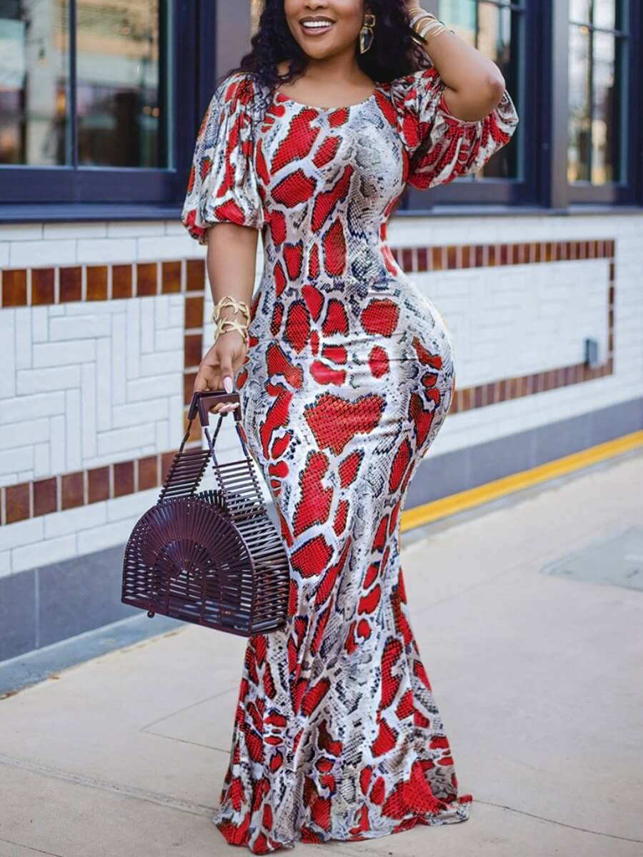 LW Lovely Sweet Animal Print Puffed Sleeve Red Floor Length Dress