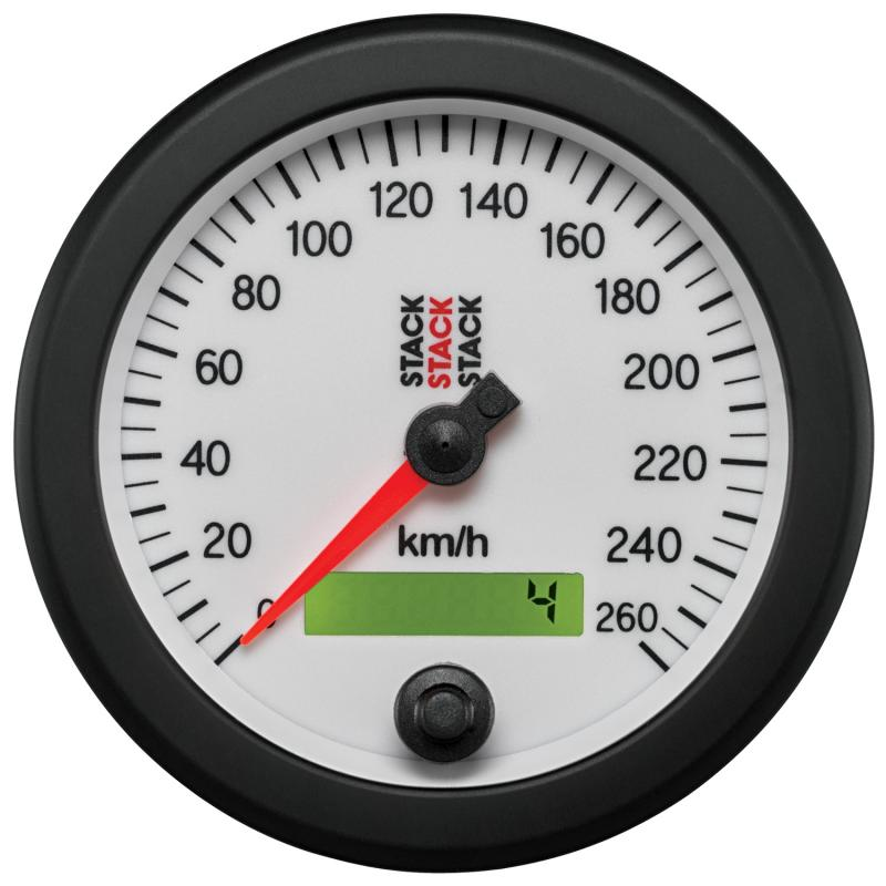 AutoMeter SPEEDOMETER; ELECTRONIC; 88MM; WHT; 0-260 KM/H PROGRAMMABLE