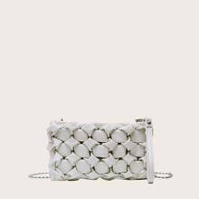 Braided Design Chain Clutch Bag