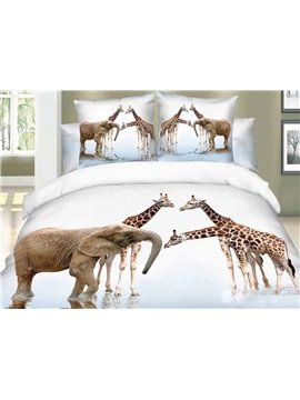 3D Elephant and Giraffe Printed Cotton 4-Piece Bedding Sets/Duvet Covers Ultra-soft Microfiber No-fading Twin Full Queen King
