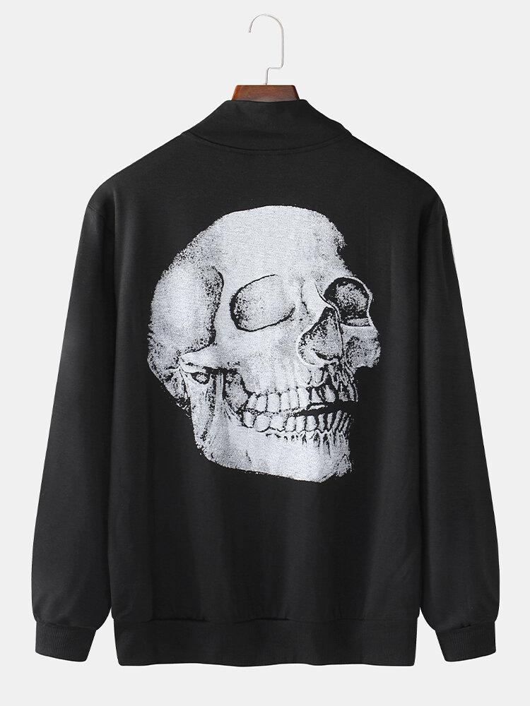 Mens 100% Cotton 3D Skeleton Back Print Zipper Front Casual Jacket