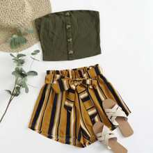 Button Front Tube Top & Striped Belted Shorts Set