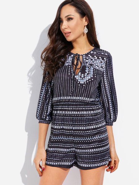 Yoins Geometrical Print V Neck 3/4 Length Sleeve Playsuit