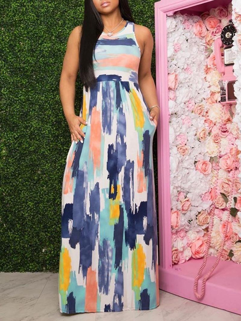 Ericdress Sleeveless Print Floor-Length High Waist Pullover Women's Dress