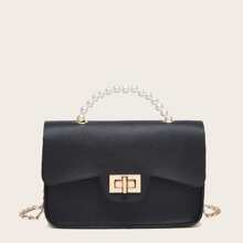 Twist Lock Faux Pearl Beaded Satchel Bag