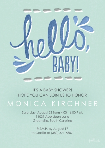 Baby Shower Invitations Flat Glossy Photo Paper Cards with Envelopes, 5x7, Card & Stationery -Watercolor Hello - Blue