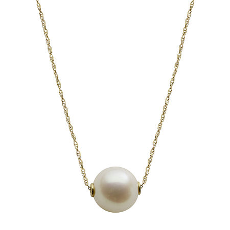 10K Gold Cultured Freshwater Pearl Solitaire Necklace, One Size , No Color Family