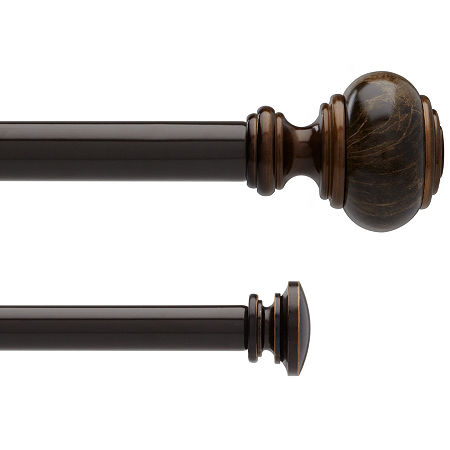 Liz Claiborne Marble Knob Double Adjustable Curtain Rod, One Size , Brown