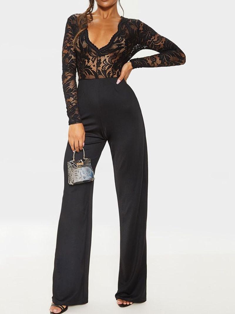 Ericdress Lace Plain Casual Full Length Slim High Waist Jumpsuit