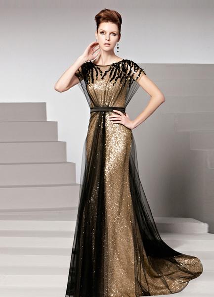Milanoo Gold Sequin Jewel Neck Short Sleeves Sheath Matte Satin Womens Evening Dress wedding guest dress