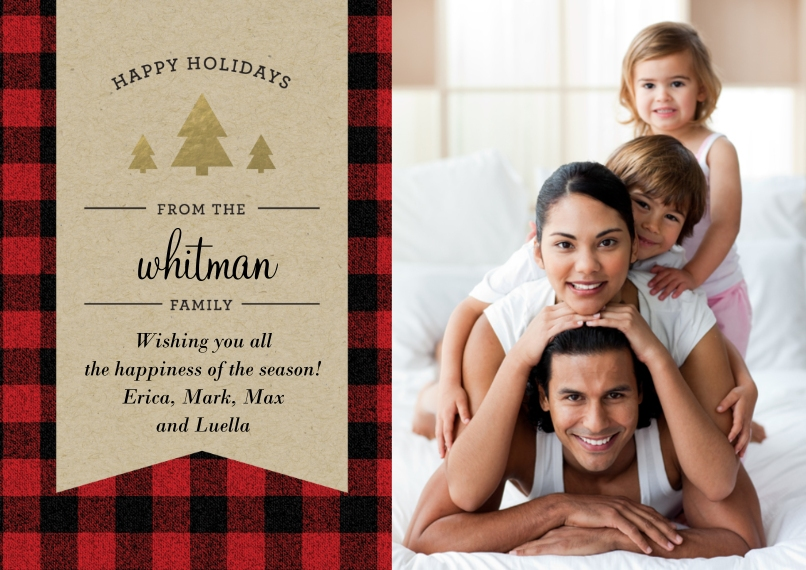 Holiday Photo Cards 5x7 Cards, Premium Cardstock 120lb with Rounded Corners, Card & Stationery -Holiday Plaid