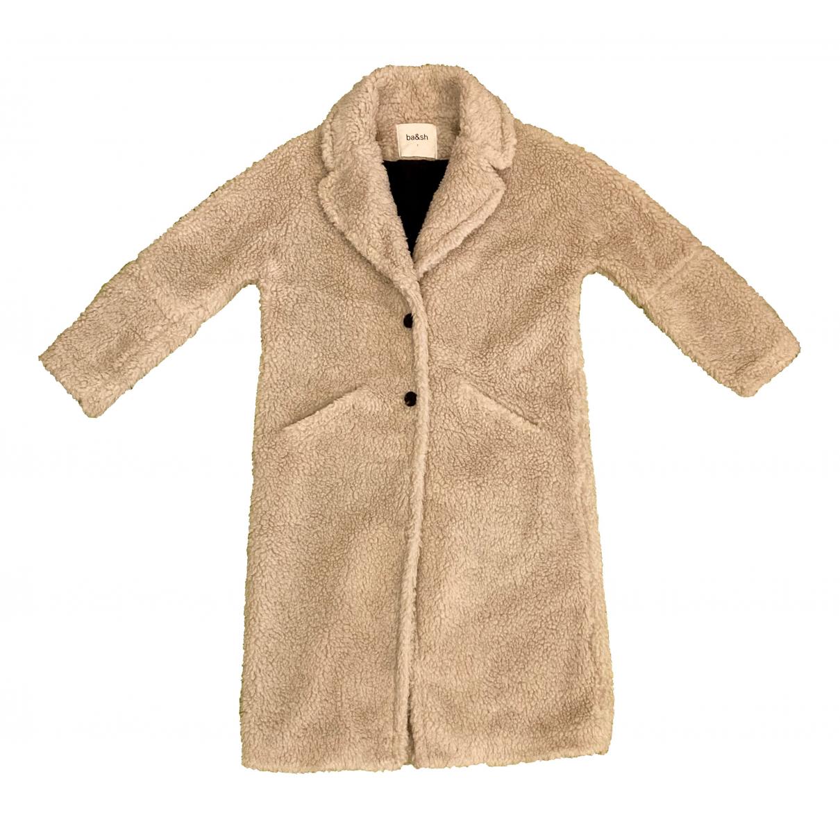 Ba&sh - Manteau   pour femme en fourrure synthetique - ecru