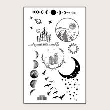Mond & Pflanzenmuster Tattoo Aufkleber