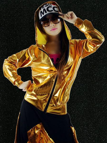 Milanoo Hip Hop Dance Costume Gold Jacket With Pants For Women