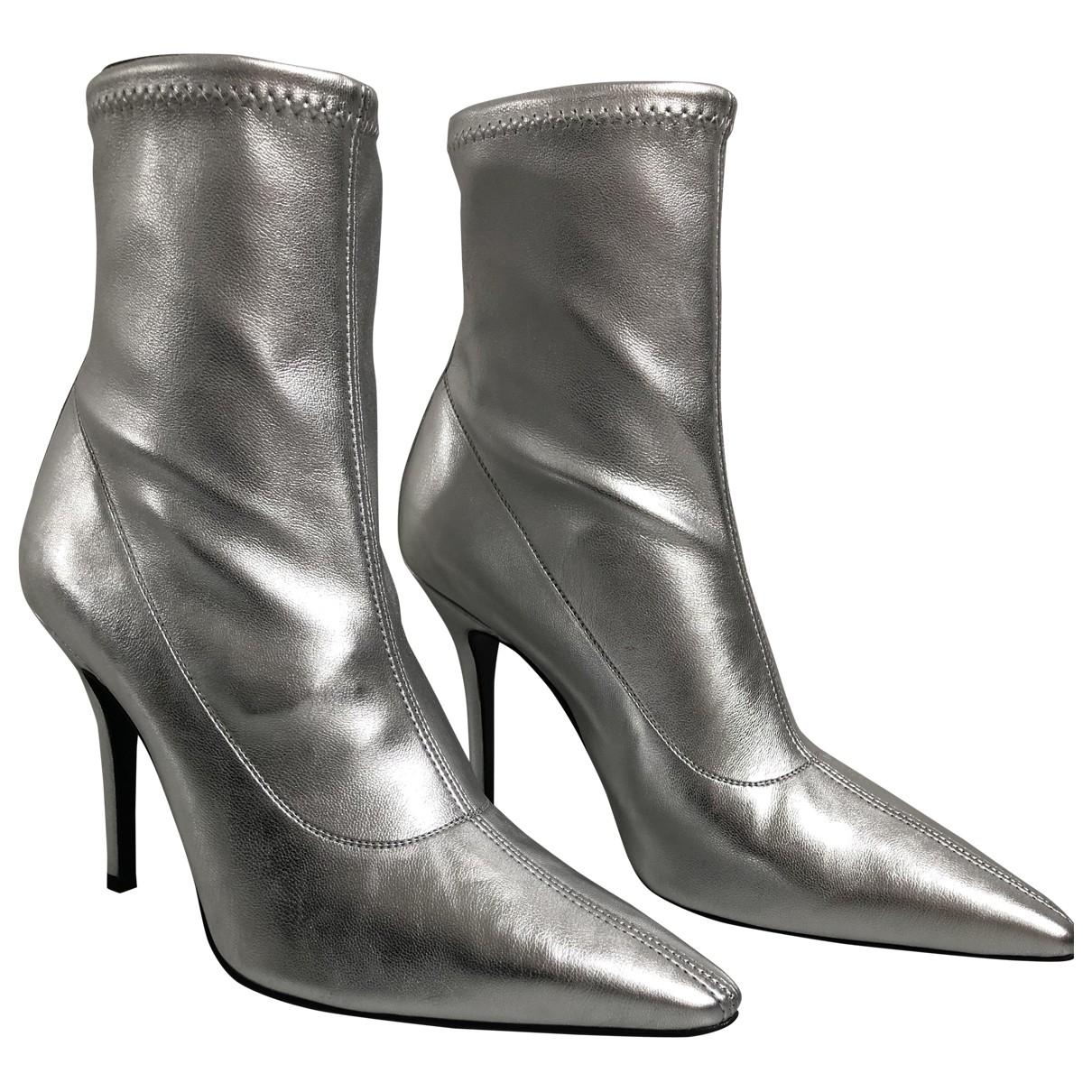 Giuseppe Zanotti - Boots   pour femme en cuir - argente