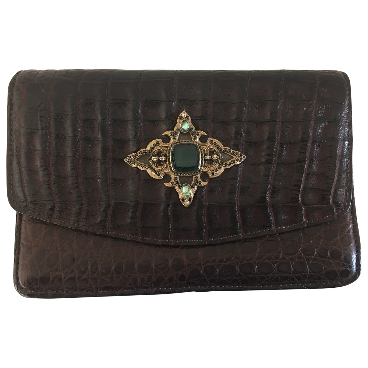Non Signé / Unsigned \N Brown Crocodile Clutch bag for Women \N