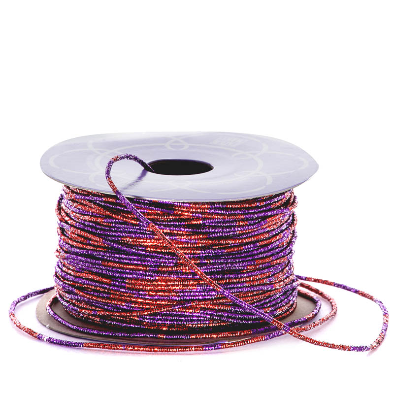 Sparkle 1.5mm X 50 Yards Red/Purple Variegated Metallic Cord by Ribbons.com