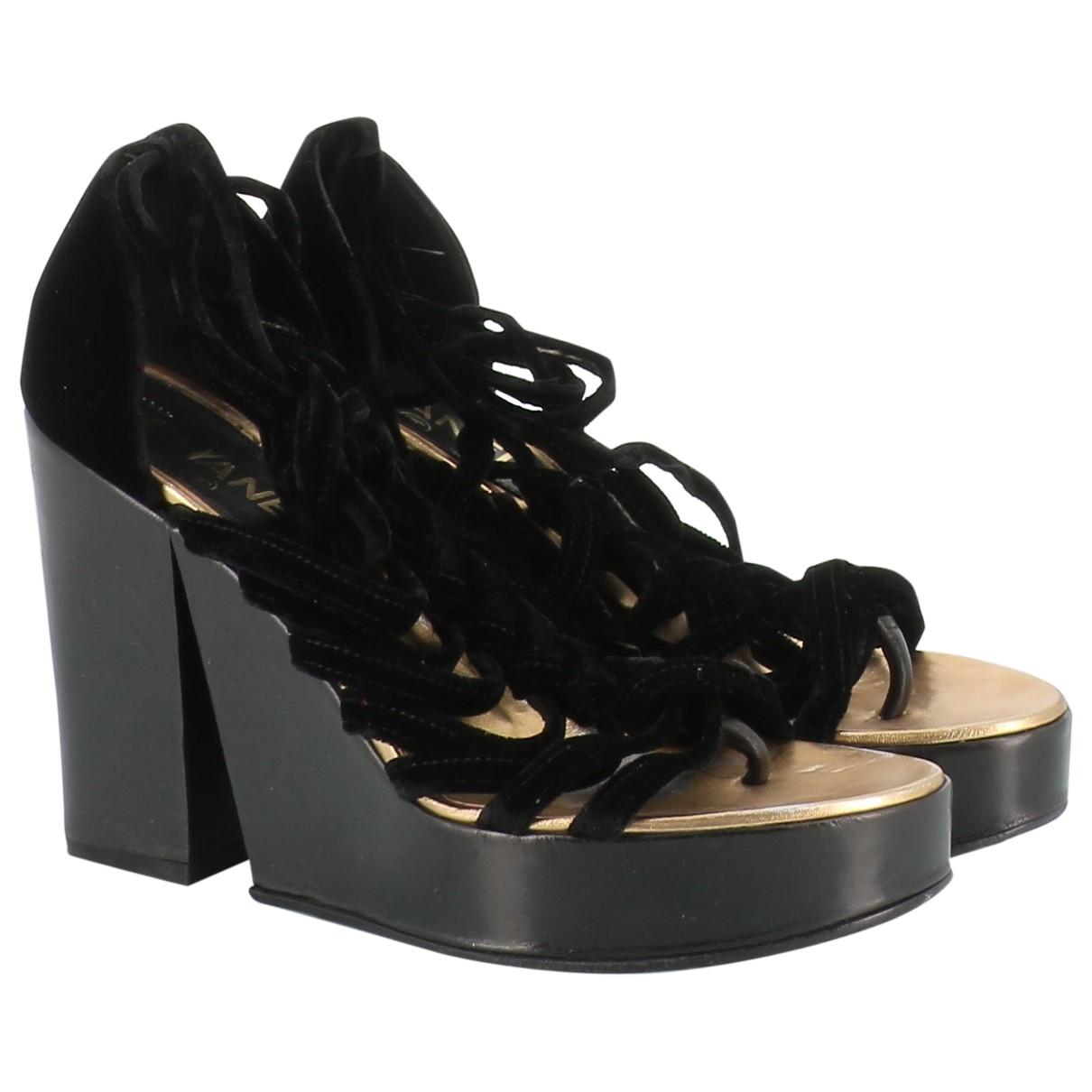 Chanel - Sandales   pour femme en velours - noir