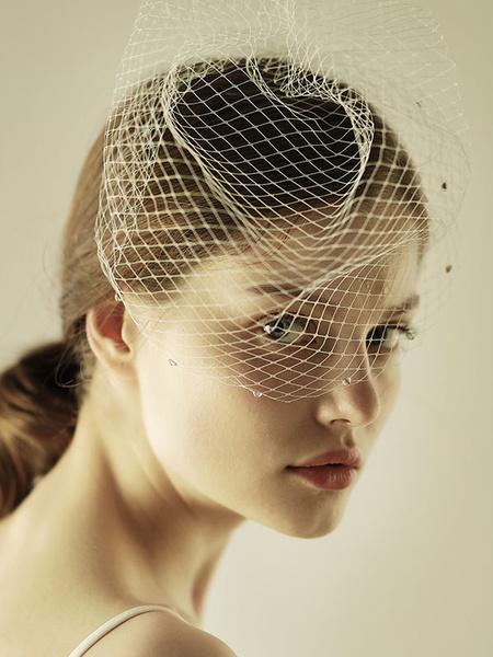 Milanoo Birdcage Wedding Veil White Net Cut Edge Short Bridal Blusher Veils